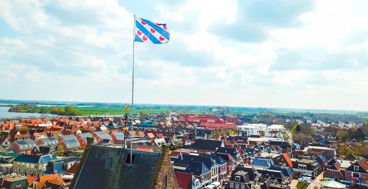 Dronefoto Grou in Friesland